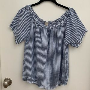 J.Crew Off The Shoulder Blue and White Linen